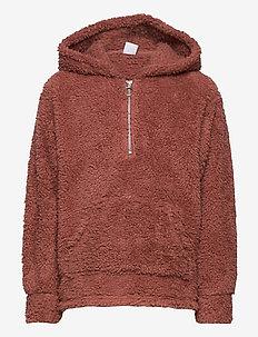 Sweater pile hoodie Peach - hættetrøjer - pink