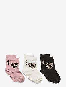 Sock 3p SG  heart leo pattern - sokker - dusty pink