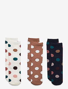 Sock 3p SG with dots - socks - brown