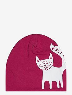 Cap tricot w reflective print - czapki - red