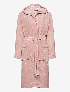 Robe Coral Fleece Pink AOP dot - bathrobes - light pink