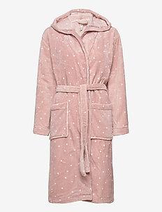 Robe Coral Fleece Pink AOP dot - kylpytakit - light pink