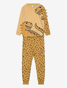 Pajama SB Dino with spikes - sett - light dusty yellow
