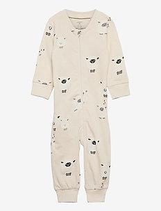 Pyjamas Sheep at back - schlafoverall - light beige