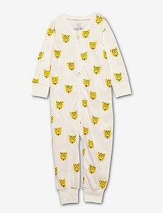 Pyjamas Leo faces - schlafoverall - light dusty white