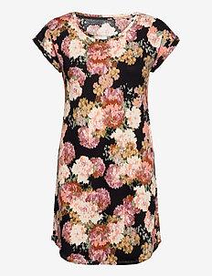 Night Dress Big T Blurry flowe - midi dresses - black
