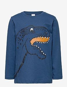 Top LS Dino Placed print - langærmede t-shirts - blue