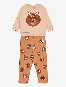 Set sweater leggings bear - 2-delige sets - beige