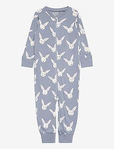 Pyjamas rabbit faces - schlafoverall - blue