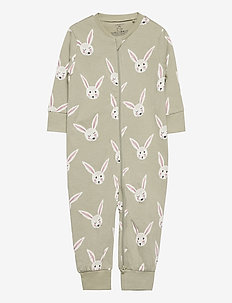 Pyjamas rabbit faces - one-sie - green
