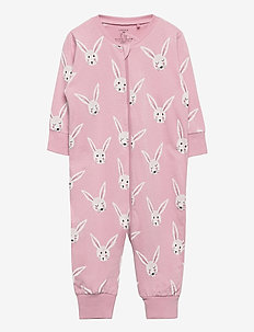 Pyjamas rabbit faces - one-sie - pink
