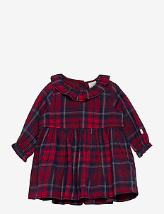 Dress woven check - robes - red