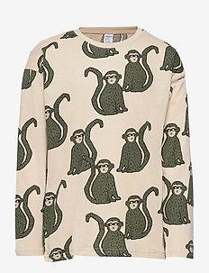 Top LS aop monkey - långärmade t-shirts - light beige