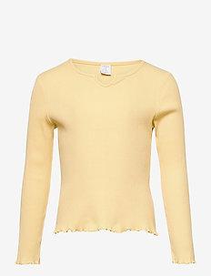 Top Jenna rib - langærmede - yellow