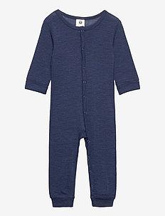baby onesies wool solid melang - langärmelig - blue