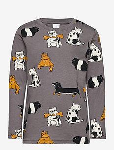Top LS AOP dog - långärmade t-shirts - grey