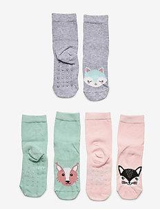 Sock 3p SG animal face antisli - socks - turquoise