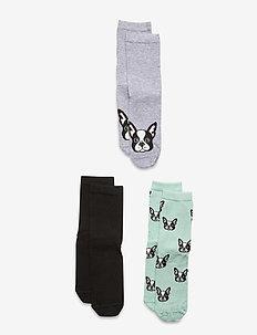 Sock 3p BG dog face - skarpetki - turquoise