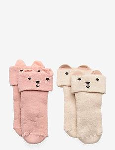 Sock 2p Baby double cuff terry - strumpor - pink