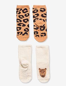 Sock 2p Baby Leo brown tiger - skarpety & rajstopy - beige