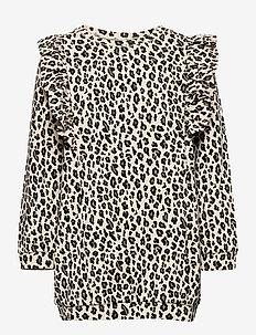 Top long stylish leo print - blouses & tunics - beige