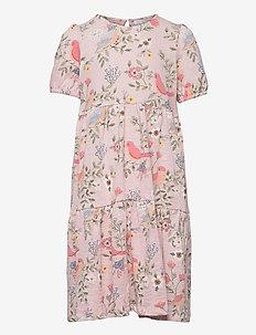 Dress tricot s s puffsleeve - kleider - pink