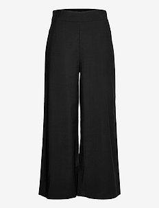 Trouser Sanna cropped - bukser med brede ben - black