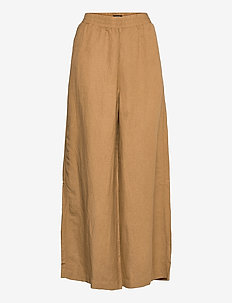 Trousers Alexandra linen - bukser med brede ben - beige
