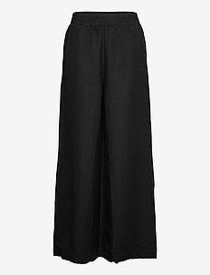 Trousers Alexandra linen - bukser med brede ben - black