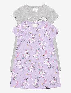 Night dress aop unicorn 2p - piżamki - lilac