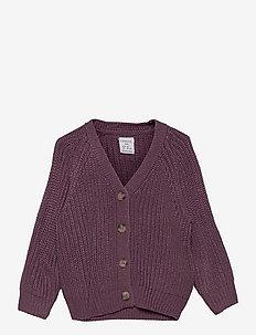 Cardigan v neck patent knit - gilets - lilac