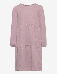 Dress tricot flounces ao print - kjoler - lilac