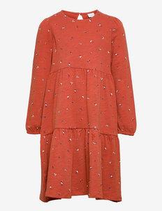 Dress tricot flounces ao print - kjoler - red