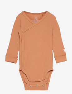 Body wrap solid rib - manches longues - brown