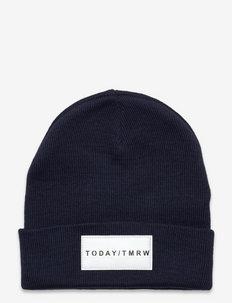 Knitted beanie basic badge - hats - blue