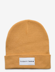 Knitted beanie basic badge - hats - yellow