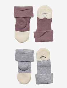 Sock 2p Baby double cuff terry - skarpetki - lilac