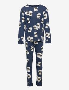 Pajama Puppy Pugs AOP - sæt - blue