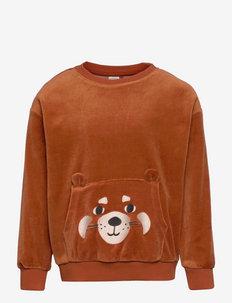 Sweater Velour Face at pkt - sweatshirts - orange
