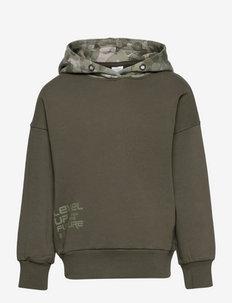 Sweatshirt hood w print - hoodies - green