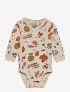 Body wrap aop autumn leaves - manches longues - beige