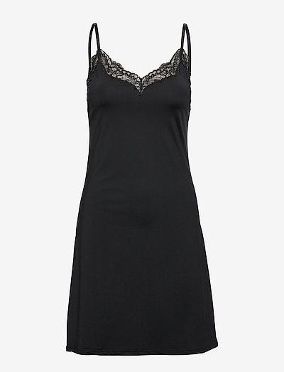 Slip dress Micro w lace trim A - nightdresses - black
