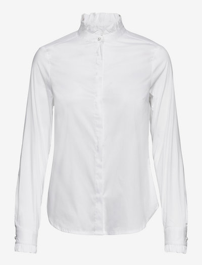 Blouse Uma with frill - long-sleeved shirts - white