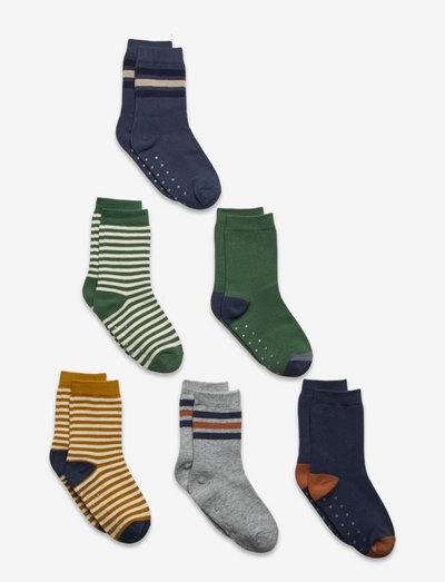 Socks 6p SB plain and stripe - halksockor - green