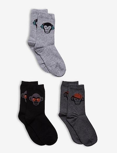 Sock BB Monkey face - strumpor - black