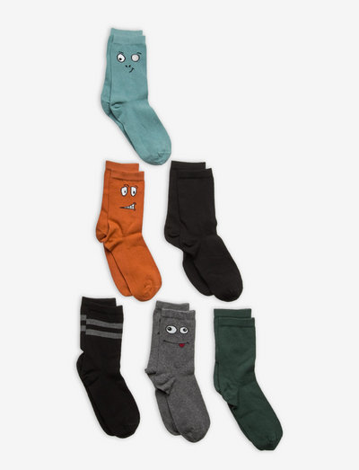 Socks 6p BB pattern and plain - strumpor - black