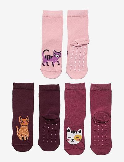 Sock 3p SG Cats - halksockor - pink