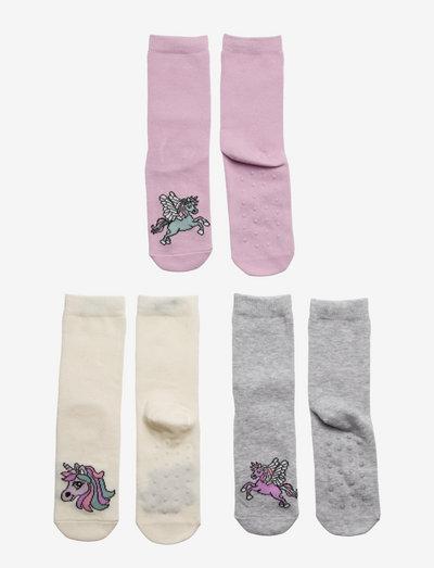 Sock 3p SG unicorn antislip - strumpor - pink