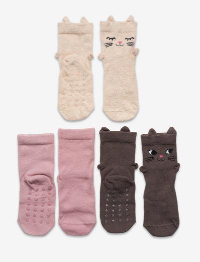 Sock 3p SG 3d cat face - halksockor - khaki