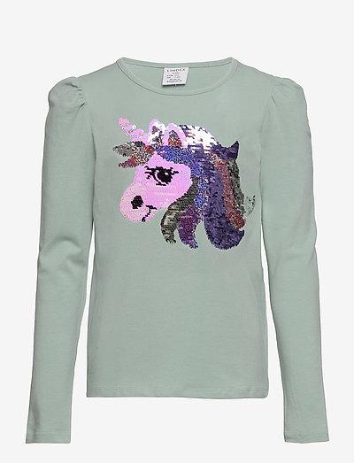 Top pufflseeve unicorn flip se - t-shirts - aqua